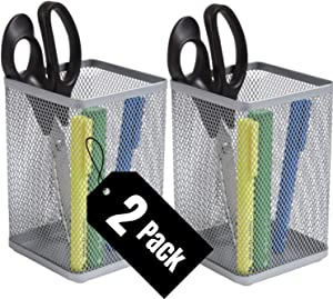 1InTheHome Big Tall Pencil Cup, Silver Wire Mesh ''2 Pack''