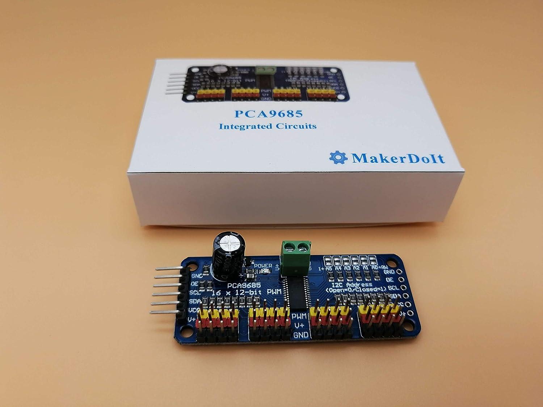 Pca9685 Integrated Circuits 16 Channel 12 Bit Pwm Packagedintegratedcircuit1jpg Servo Motor Driver Board For Arduino By Makerdoit Home Improvement