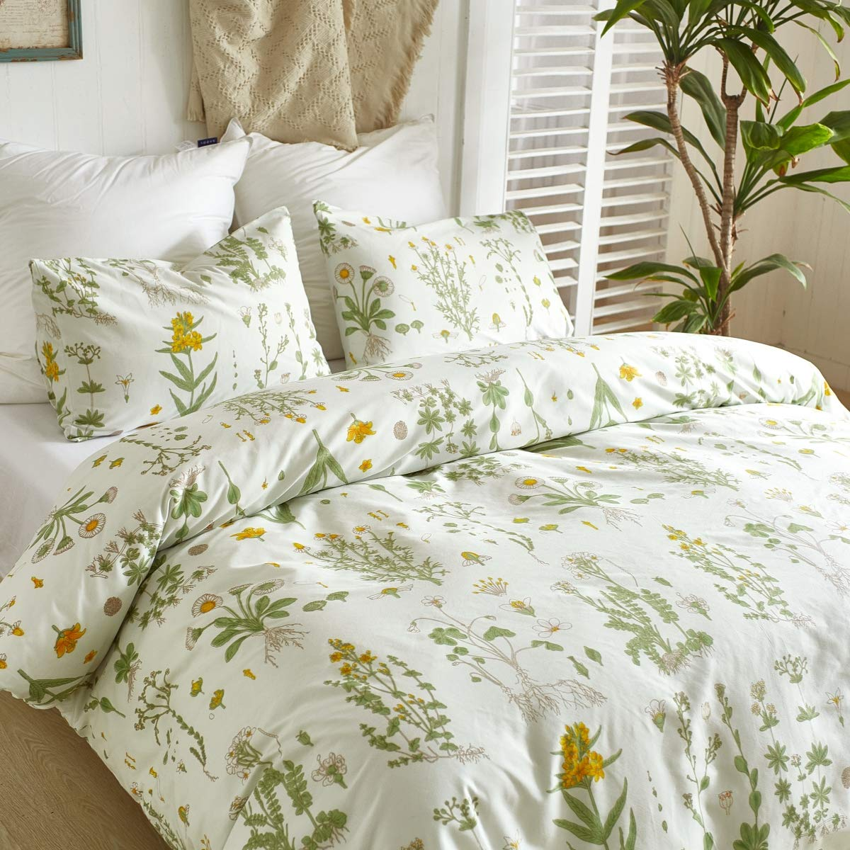3 PCs Botanical Duvet Cover Set, Modern Flowers Printed Boho Comforter Cover Bedding Sets with Zipper Ties by Smoofy (Image #4)