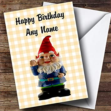 Cute smiling gnome personalised birthday card amazon cute smiling gnome personalised birthday card bookmarktalkfo Image collections