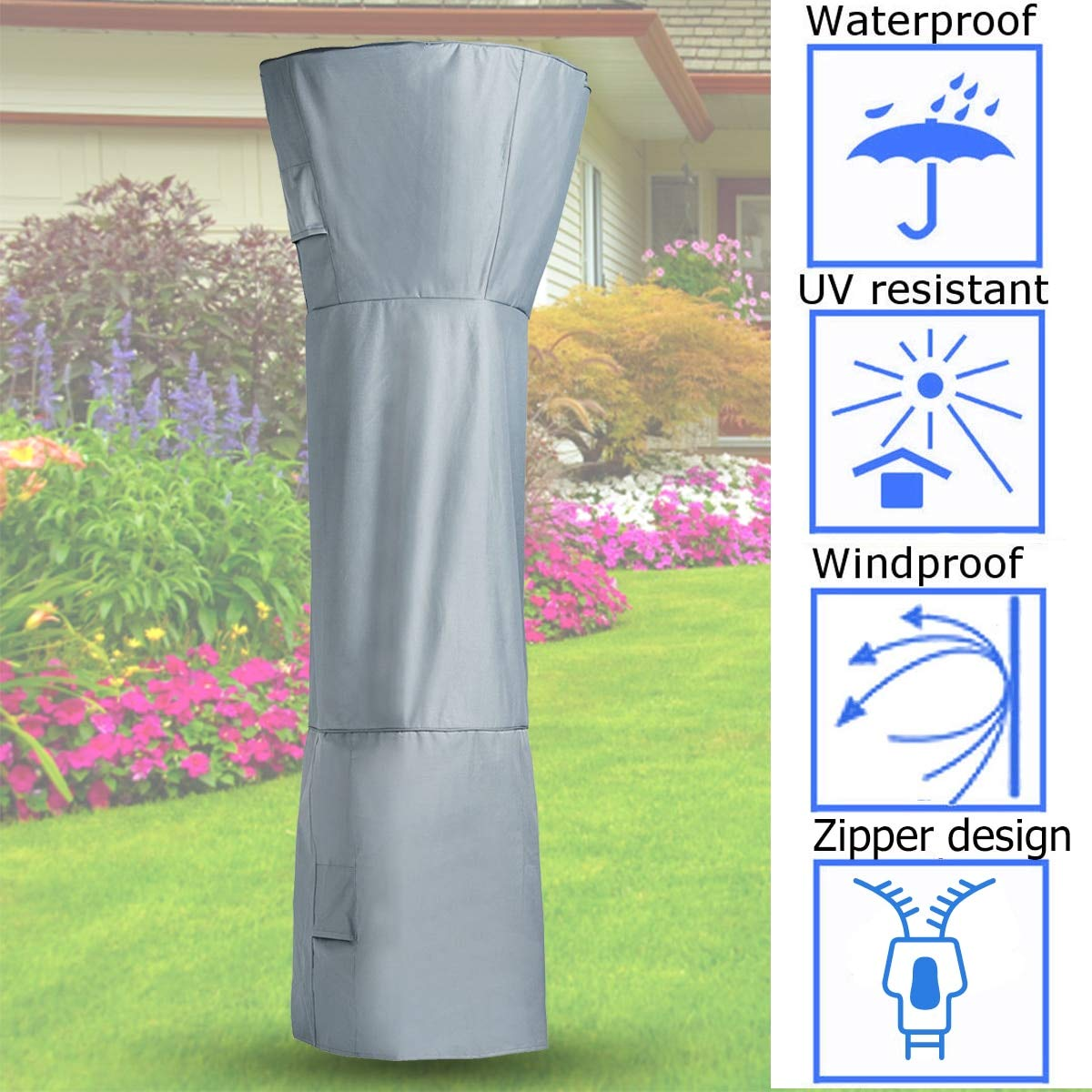 VQP Patio Heater Cover for Mushroom Shape Type Heater Waterproof Protector Cover Fabric Outdoor Home Garden 251cmx91cm by VQP