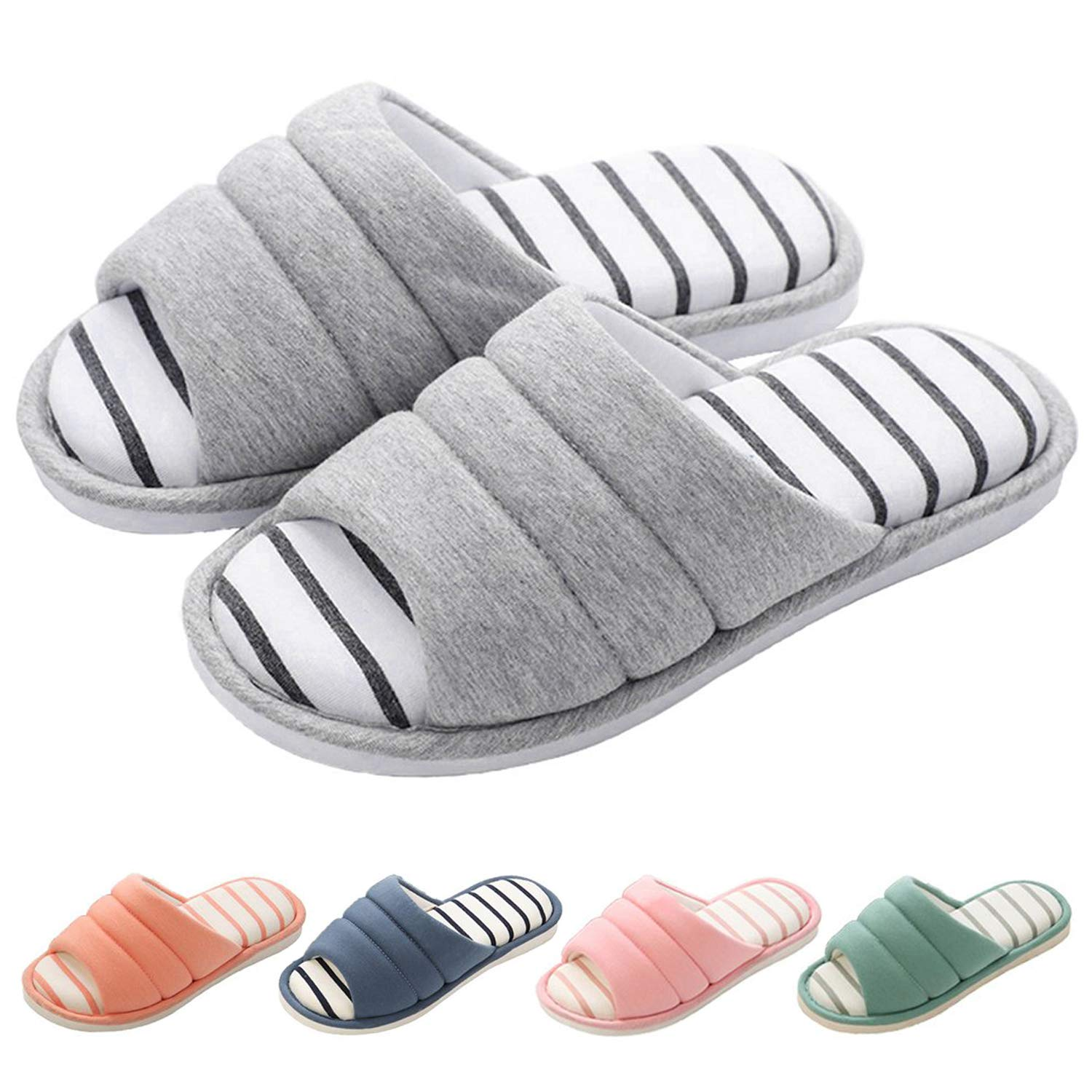 shevalues Womens Soft Indoor Slippers Open Toe Cotton Memory Foam Slip on Home Shoes House Slippers