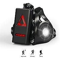 Waitiee Wiederaufladbare USB Running Light, 250 LM Wasserdicht Outdoor Brust Licht, 3 LED Draussen Sicherheit Lampe Für Männer Frauen Running Walking Jogging Sicherheit