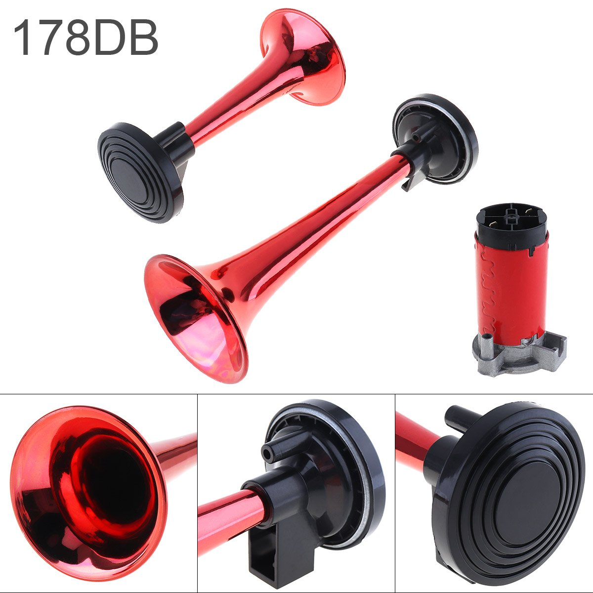 12V 178dB Super Loud Dual Tone Air Horn Set Trumpet Compressor for Motorcycle Car Boat Truck