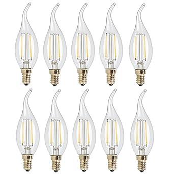 10X E14 Bombilla Filamento LED 2W Bombilla Retro Vintage C35 COB LED de Edison 140LM Bombillas