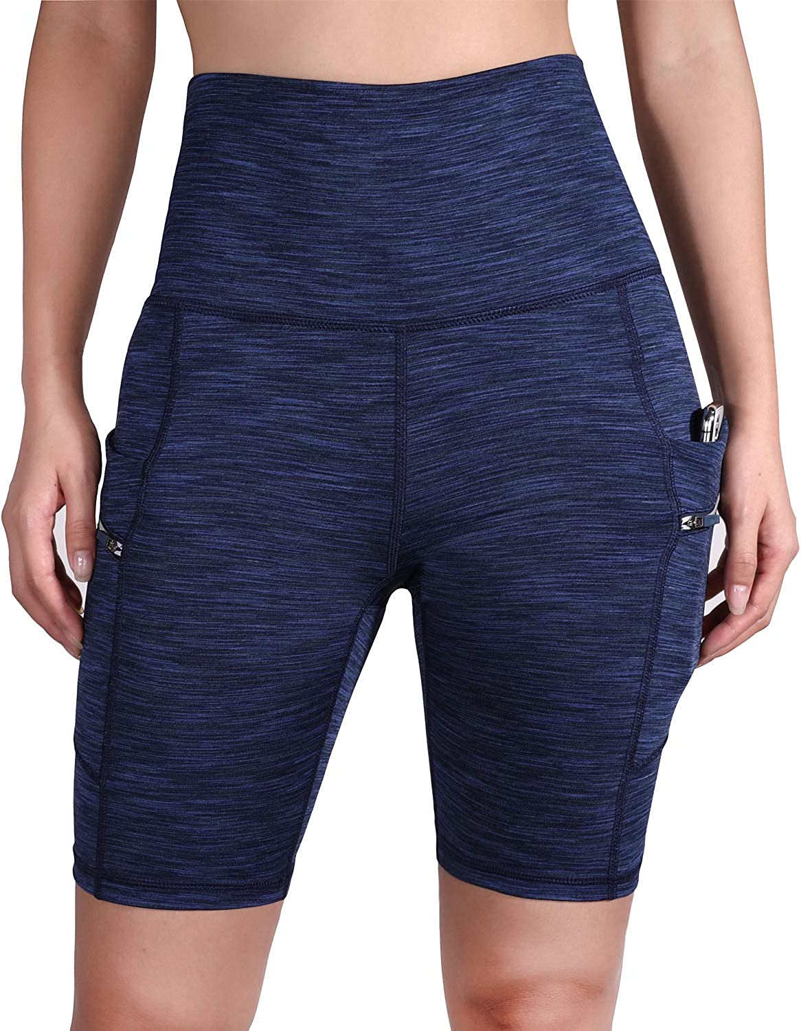 ODODOS High Waist Out Pocket Yoga Short Tummy Control Workout Running Athletic Non See-Through Yoga Shorts: Clothing