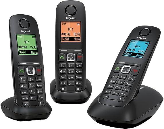 Gigaset A540A Duo - Teléfono inalámbrico con Manos Libres y contestador (DECT/Gap, 2 terminales), Color Negro [Versión Importada]: Amazon.es: Electrónica