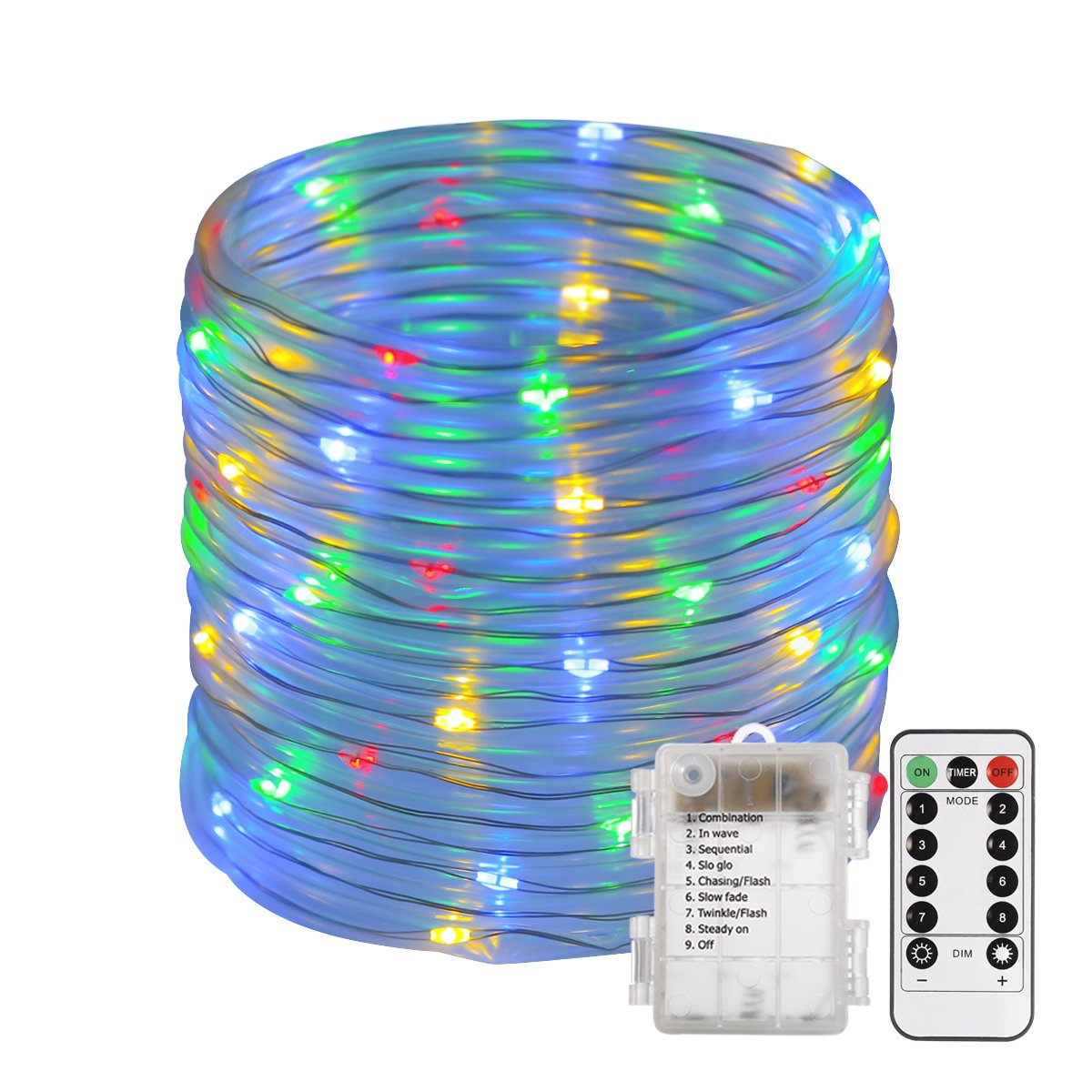 ECOWHO 46ft Outdoor String Lights IP67 Waterproof Fairy Lights Battery Powered for Home, Patio, Garden,Christmas with Remote (Multicolor)