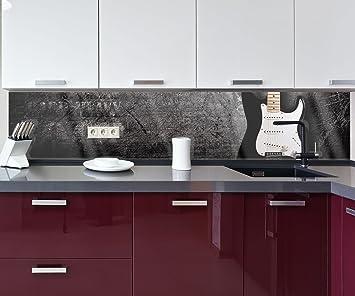 wandmotiv24 Cocina pared trasera Guitarra eléctrica Design M0466 260 x 50 cm (ancho x alto