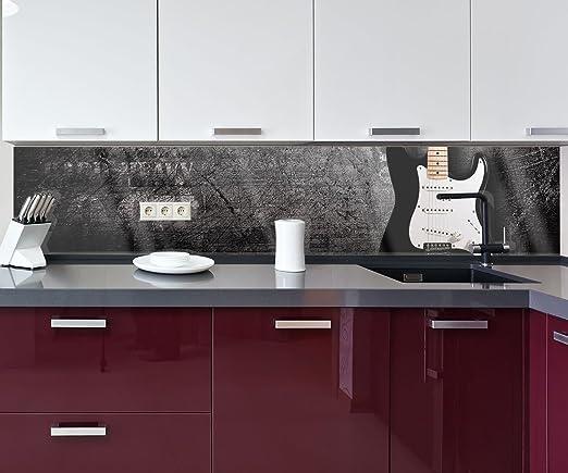 wandmotiv24 Cocina pared trasera Guitarra eléctrica Design M0466 260 x 50 cm (ancho x alto) - Vidrio acrílico 4mm Pared trasera cocina foto foto cocina foto ...