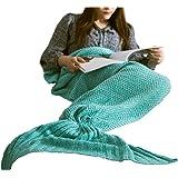 "Hughapy knitted Mermaid Tail Blanket for Adults Teens,Kids Crochet Snuggle Mermaid,All Seasons Seatail Sleeping Blanket (71""x32"", Thin-Mint Green)"