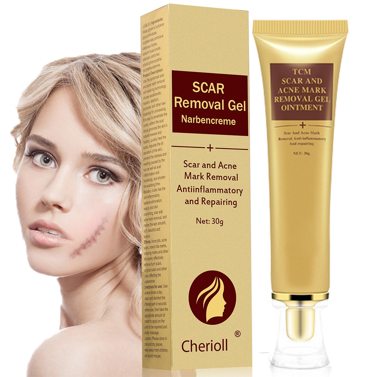 Scar Cream, Acne Scar Removal Cream, Face Skin Repair Cream, Acne Spots Treatment, Scar Gel For Stretch Marks Relief And Burns Repair (30ml) by Cherioll