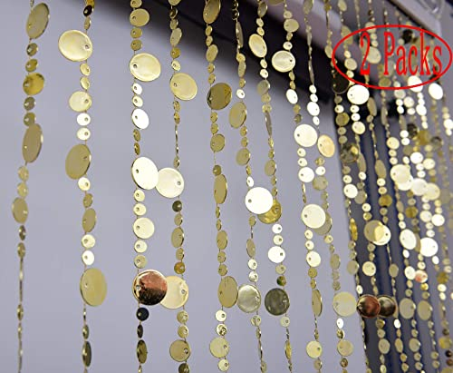 2 Packs Gold Bubble Beaded Curtain 3' Wide x 6' Long Door String Curtain Wall Panel Fringe Window Room Divider Blind