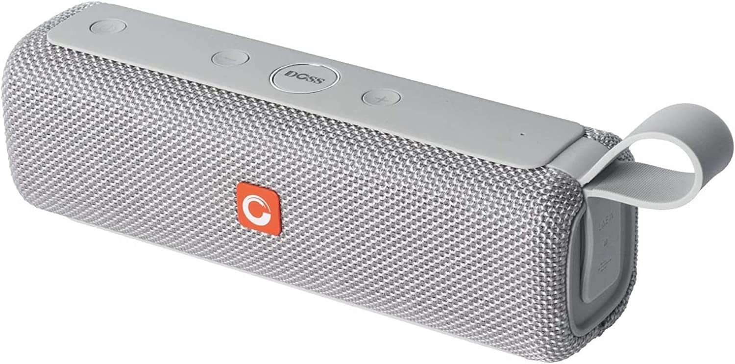 DOSS E-go II Portable Bluetooth Speakers with Superior Sound and Extra Bass, IPX6 Waterproof, Built-in Mic, 12W Driver, 12-Hour Playtime, Wireless Speakers for Home, Outdoor, Travel and More - Grey