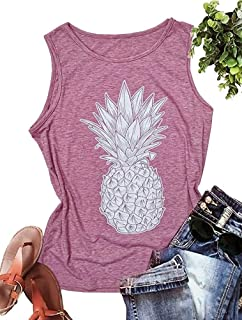 ff03736c00779e MOMOER Pineapple Racerback Tank Top for Women Graphic Tees Summer Vacation  Sleevelss Vest Shirt for Teen