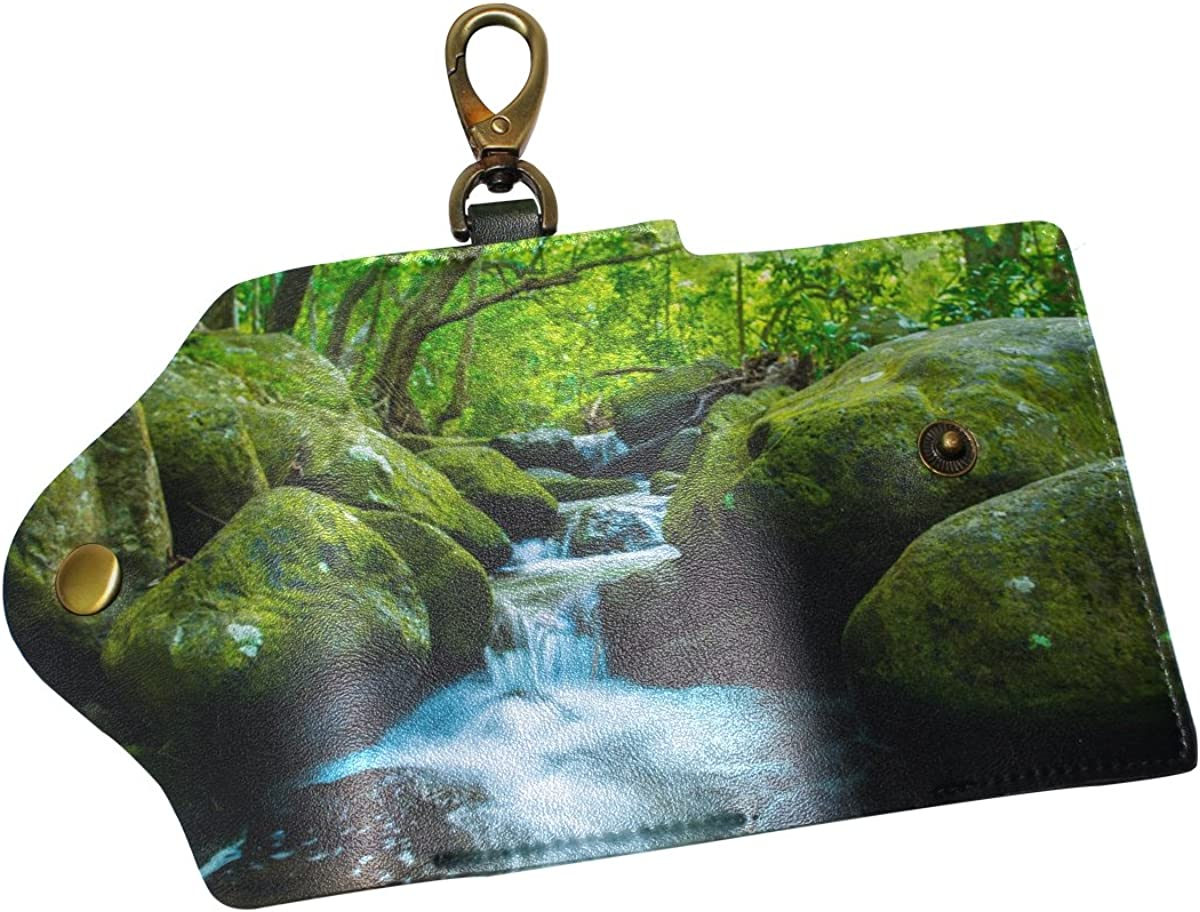DEYYA Nature Landscape Art Leather Key Case Wallets Unisex Keychain Key Holder with 6 Hooks Snap Closure