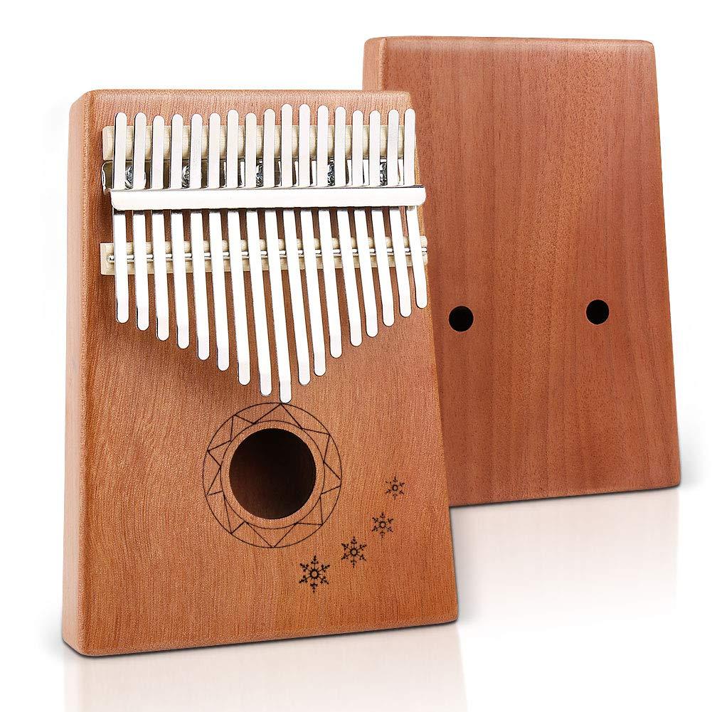 VAlinks17 Keys Kalimba, Natural Mahogany Kalimba Thumb Piano Finger Piano 17 keys with Key Locking System with Music Book,Storage Bag and Tune Hammer