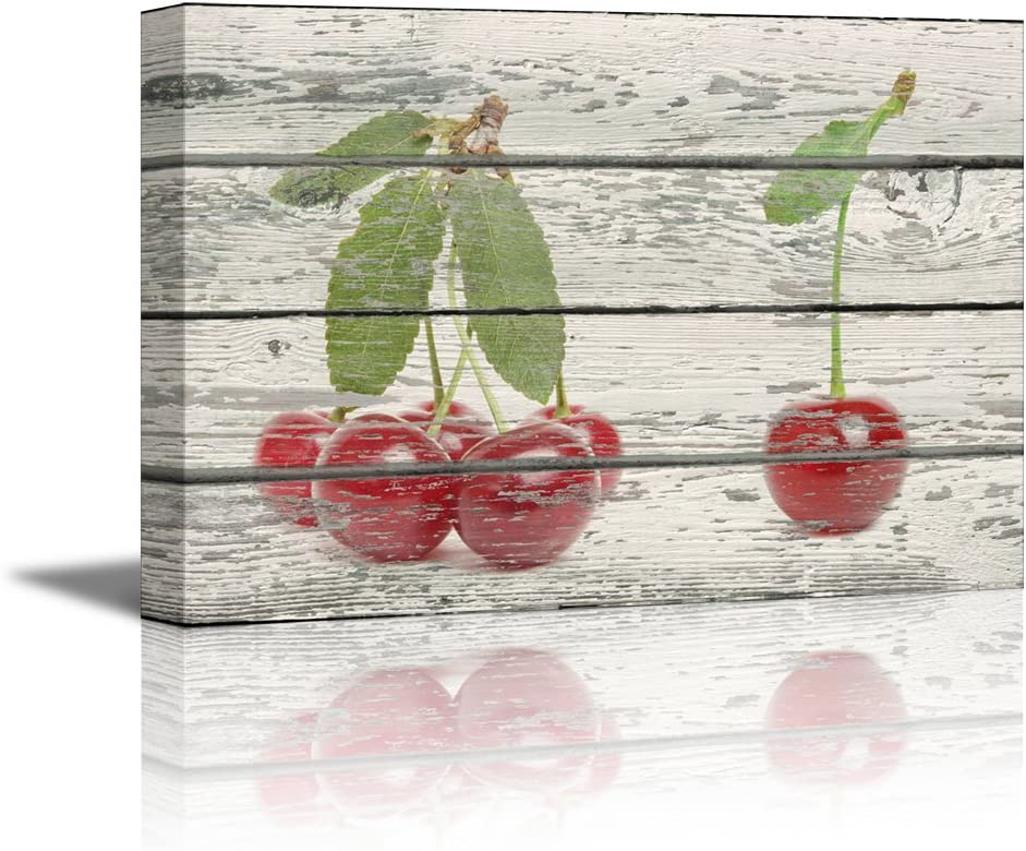 Canvas Prints Wall Art Cherries on Vintage Wood Background