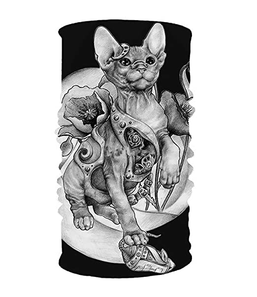 eebb2184b Image Unavailable. Image not available for. Color: Steampunk Tattoo Cat  Kitten Biomechanics Mech 16-in-1 Magic Scarf ...