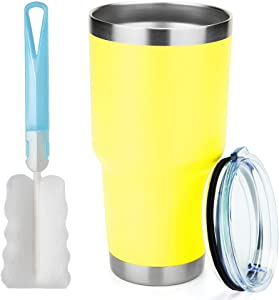 MANYHY 30oz Stainless Steel Tumbler Insulated Double Wall Vacuum Travel Mug with Lid, Durable Coated Thermal Coffee Cup for Cold Drink and Hot Beverage (Yellow, 1)