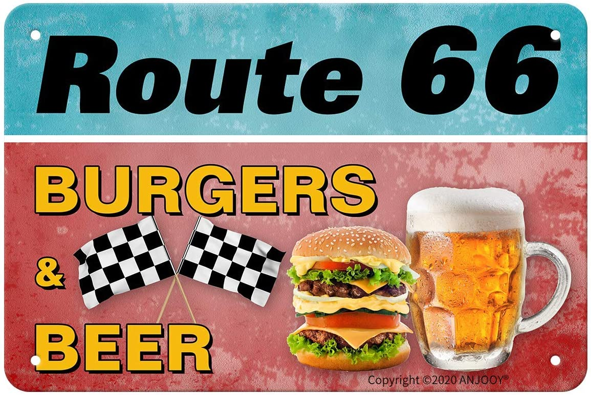 ANJOOY Metal Tin Signs Vintage - Route 66 Burgers & Beer - Suitable for Snackery Fast Food Restaurant Bar Home Wall Decoration 8