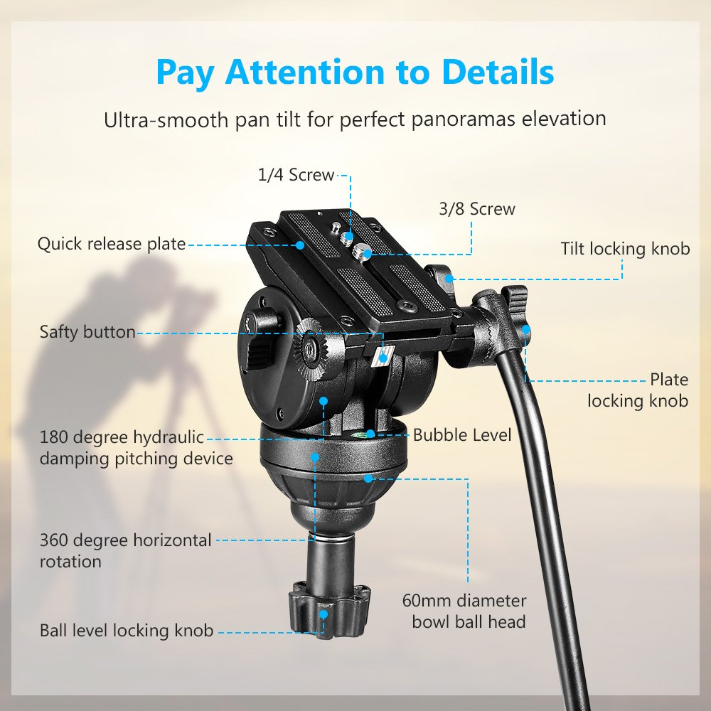 SAILNOVO-Trípode Completo, Flexible y Plegable de Aluminio de Camara Reflex DSLR y Camara de Video, cámara de vídeo trípode, cabeza de trípode panorámica, ...