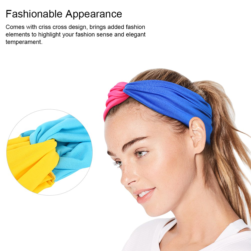 Vbiger 6pcs Womens Elastic Headbands Sports Head Wraps Headwear Make-up Shower Hairband