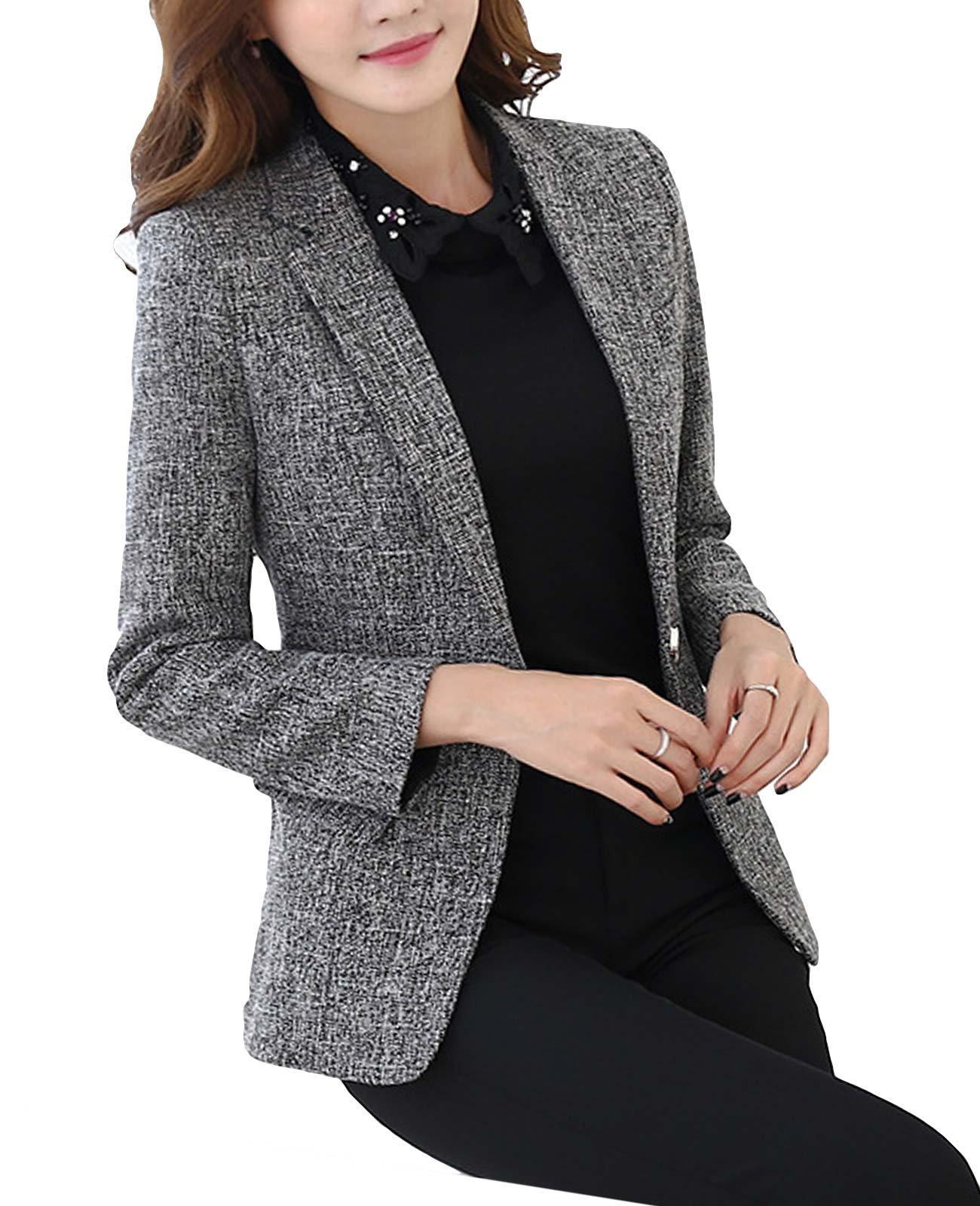 MFrannie Womens Cotton & Linen Tweed Blazer One Button Office Work Jacket Black M
