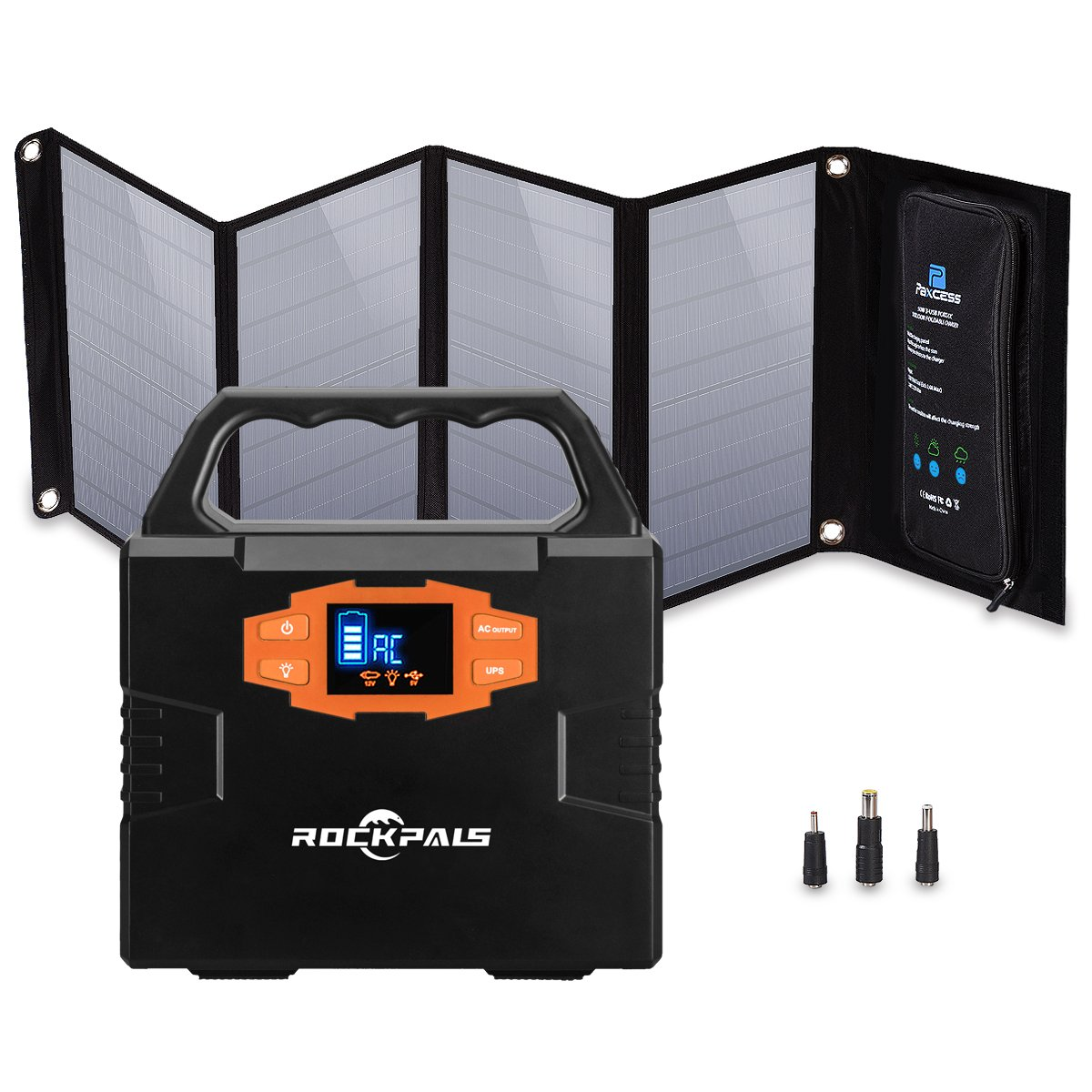 Rockpals 100W Solar Generator Kit with 50W Solar Panel, Portable Solar Power Inverter System, CPAP Battery Pack For Home Camping Emergency Backup Power Supply with 110V AC Outlet/12V by Rockpals