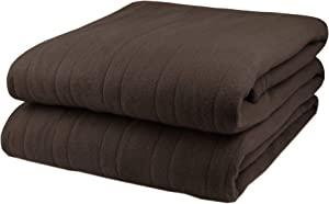 Pure Warmth Fleece Electric Heated Blanket Full Chocolate