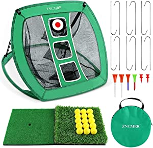 ZNCMRR Pop Up Golf Chipping Net, Indoor/Outdoor Golfing Target Net Collapsible Portable Golf Hitting Net with 15 Training Balls and 2 Hitting Mats for Backyard Driving and Swing