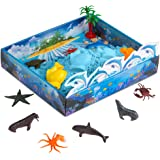 CoolSand 3D Sandbox - Sea Creatures Edition - Set Includes: 1 Pound Moldable Indoor Play Sand, Shaping Molds, Sea Figures and 3D Tray - Featuring Sensory Kinetic Action