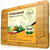 Large Wood Cutting Board - Eco-Friendly Kitchen Chopping Board with Juice Groove for Meat, Vegetables, Cheese & Fruits…