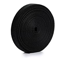 U-horizon 2cm x 5m Cable Ties Hook and Loop Cord Ties Durable Cable Straps Quickly-Fastening Wire Organizer, Black