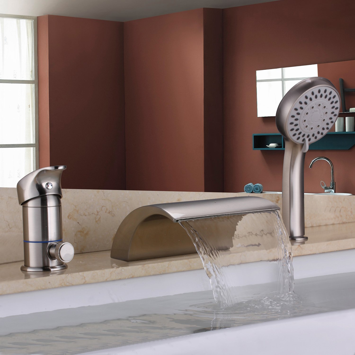 Delightful Hiendure Waterfall Solid Brass Roman Tub Faucet Set With Hand Shower,  Brushed Nickel     Amazon.com