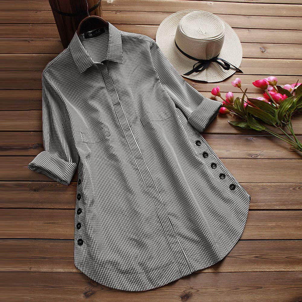 Women's Lattice Button Blouse, Casual Tops Shirt Loose Plus Size Long Sleeve Blouse by SUNSEE WOMEN'S CLOTHES PROMOTION (Image #2)