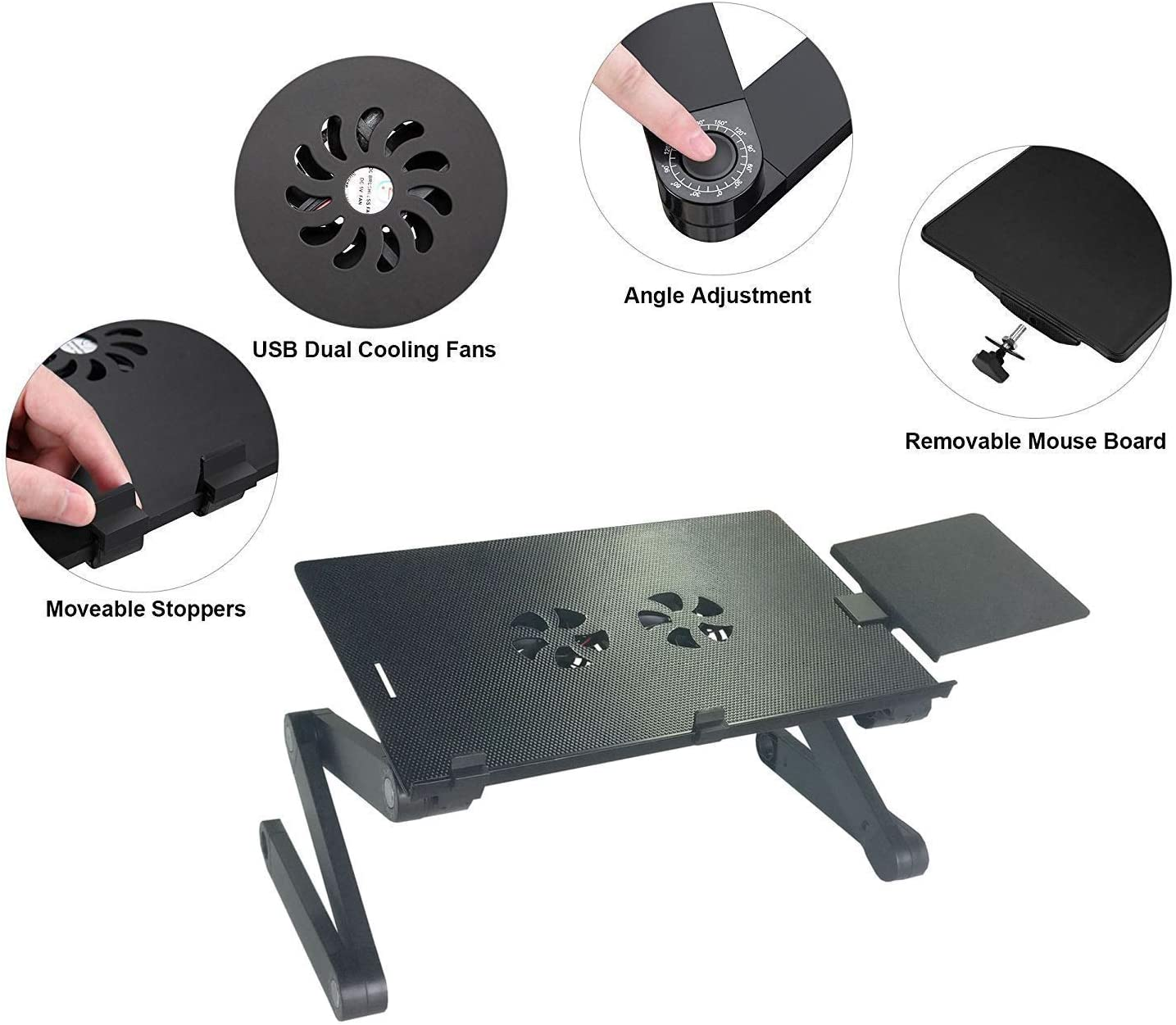 Noblik Laptop Stand for Bed and Sofa Cozy Desk Portable Adjustable Laptop Table Stand Up//Sitting with 2 Cpu Cooling Fans and Mouse Pad