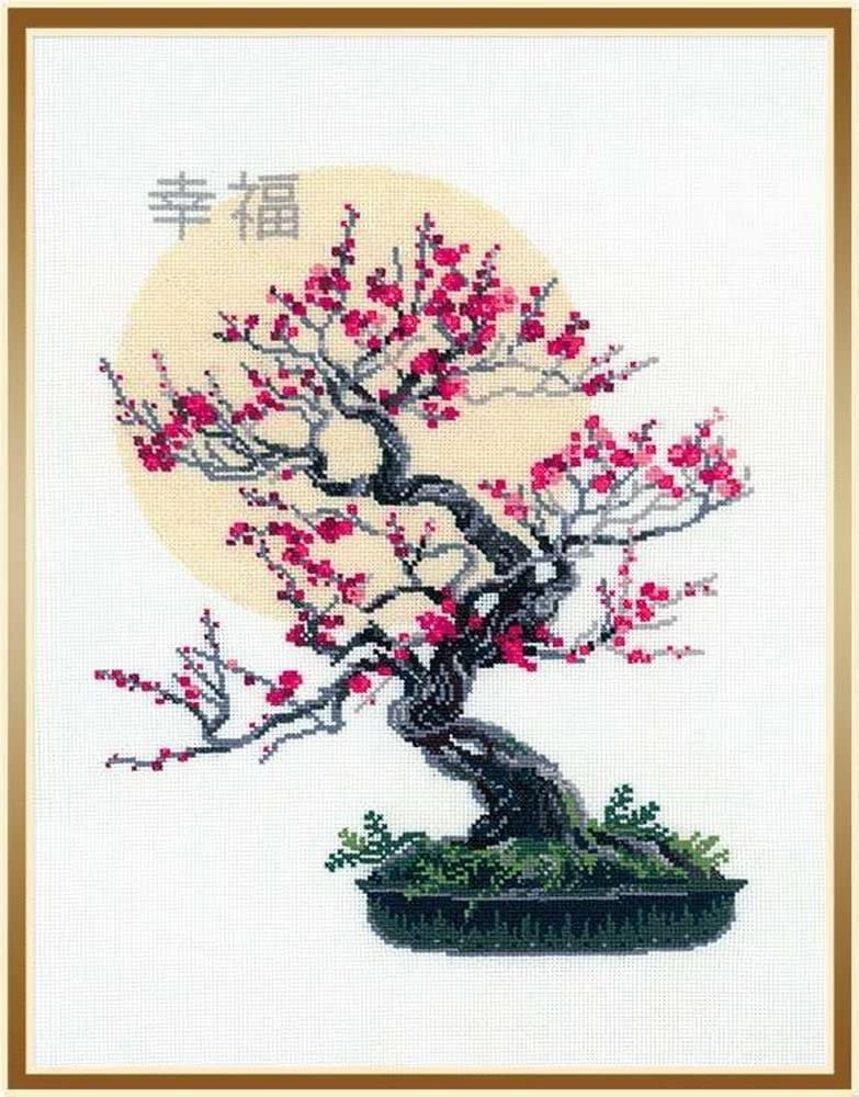 1-Pack Bonsai Of Sakura Wish Of Well Being Counted Cross Stitch Kit 13.75in Riolis 14 Count R1036 x 17.75in