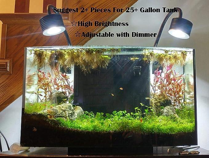 Lámpara de Luz LED para Acuario Asta 20, Iluminacion LED para Acuarios Plantados Lampara LED para Peceras 30~50cm(Enchufe de la UE)