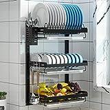 Pusdon Rejilla para secar platos de pared, escurridor de platos colgante de acero inoxidable de 3 niveles con soporte para cu