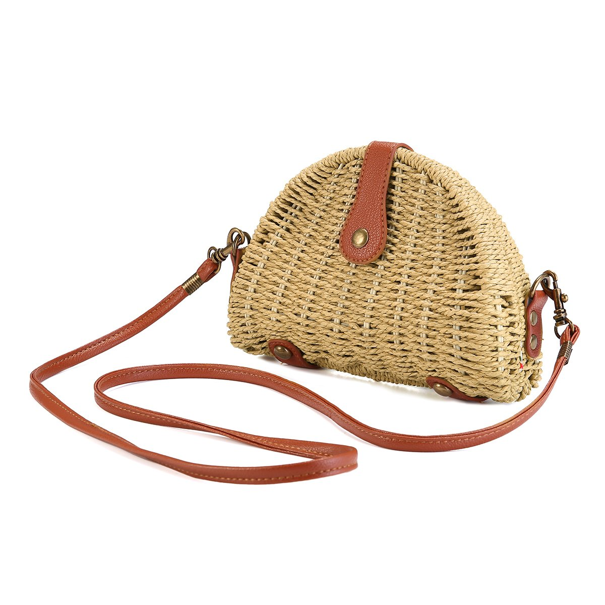 Crossbody Straw Bag, JOSEKO Womens Straw Handbag Shoulder Bag for Beach Travel and Everyday Use Off White 8.07