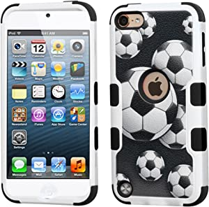 MYTURTLE iPod Touch 7th 6th 5th Generation Case Shockproof Hybrid Hard Silicone Shell Impact Cover with Screen Protector for iPod Touch 7 (2019), iPod Touch 5/6 (2015), Ball Sports Soccer