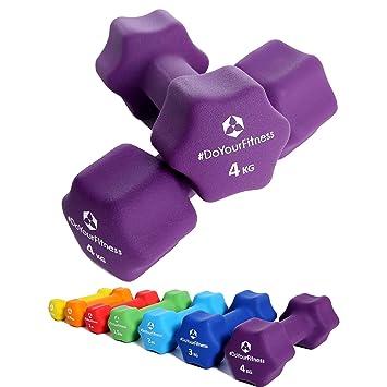 Pesas de neopreno »Lire« / Mancuernas disponibles en diferentes pesos y colores / 4 kg, violeta: Amazon.es: Deportes y aire libre