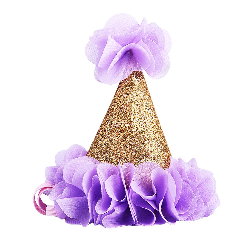 Zehui Glitter Headband For Baby Gold First Birthday Party Cone Hat With Purple Flowers