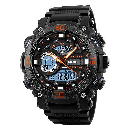 69f0b919bb8f TONSHEN Digital Reloj Deportivos Impermeable 50M Resistente Agua  Multifuncional Analógico Cuarzo Doble Tiempo Relojes de Hombre