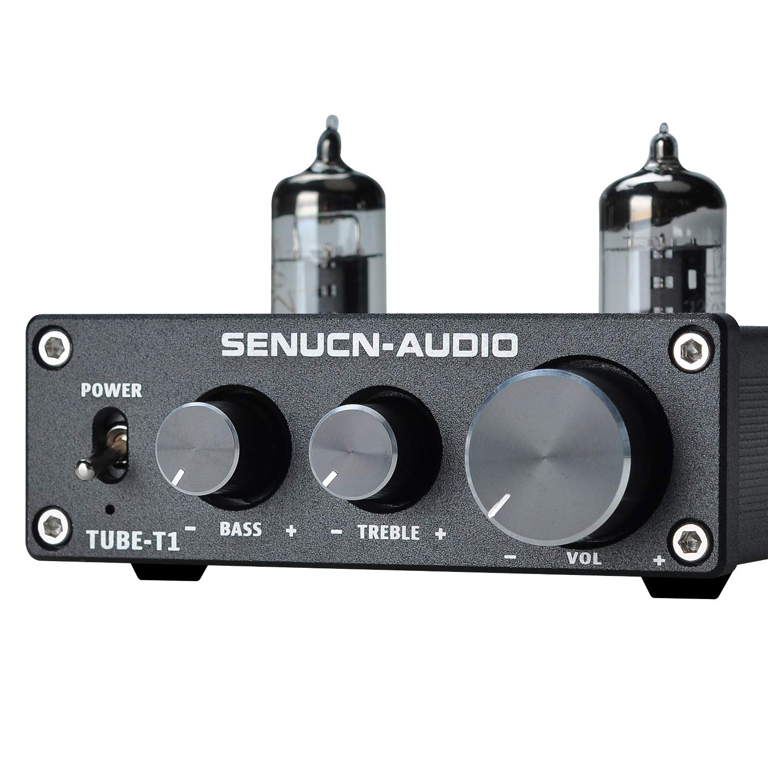 SENUCN-AUDIO Tube-T1 Preamplifier, 6J1 Vacuum Tube Amplifier Buffer Mini Hi-Fi Stereo Preamp with Treble & Bass Tone Control for Home Audio Player