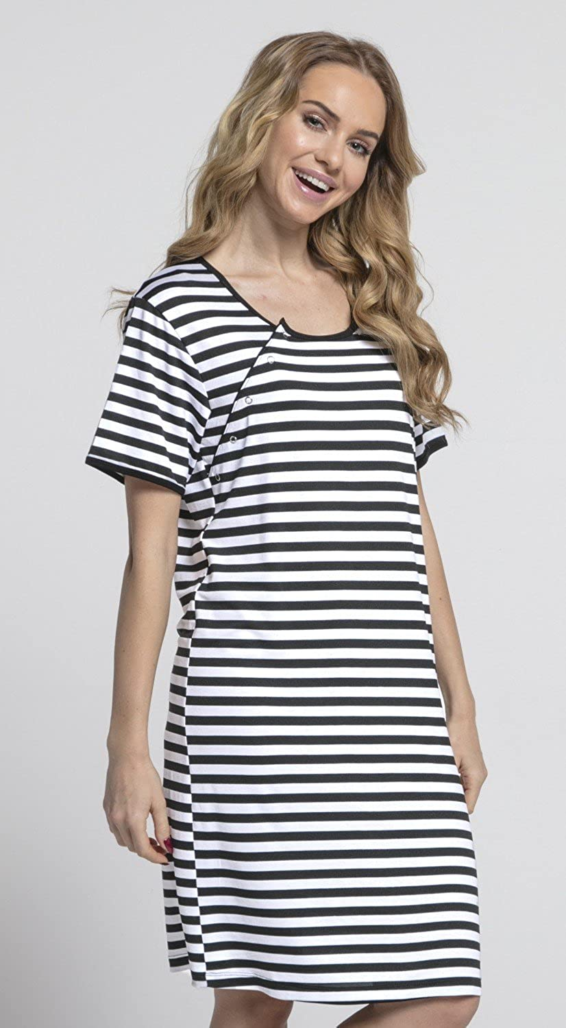 HAPPY MAMA Womens Maternity Hospital Gown Nightie Stripes Labour and ...