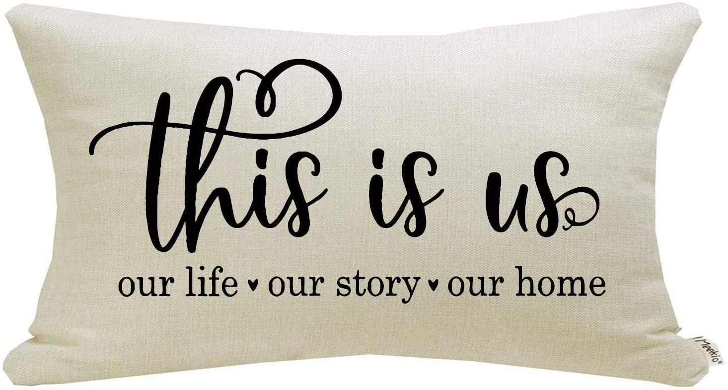 Meekio Farmhouse Pillow Covers with This is Us Quote 12 x 20 inch Farmhouse Rustic Décor Lumbar Pillow Covers with Saying Housewarming Gifts Family Room Décor