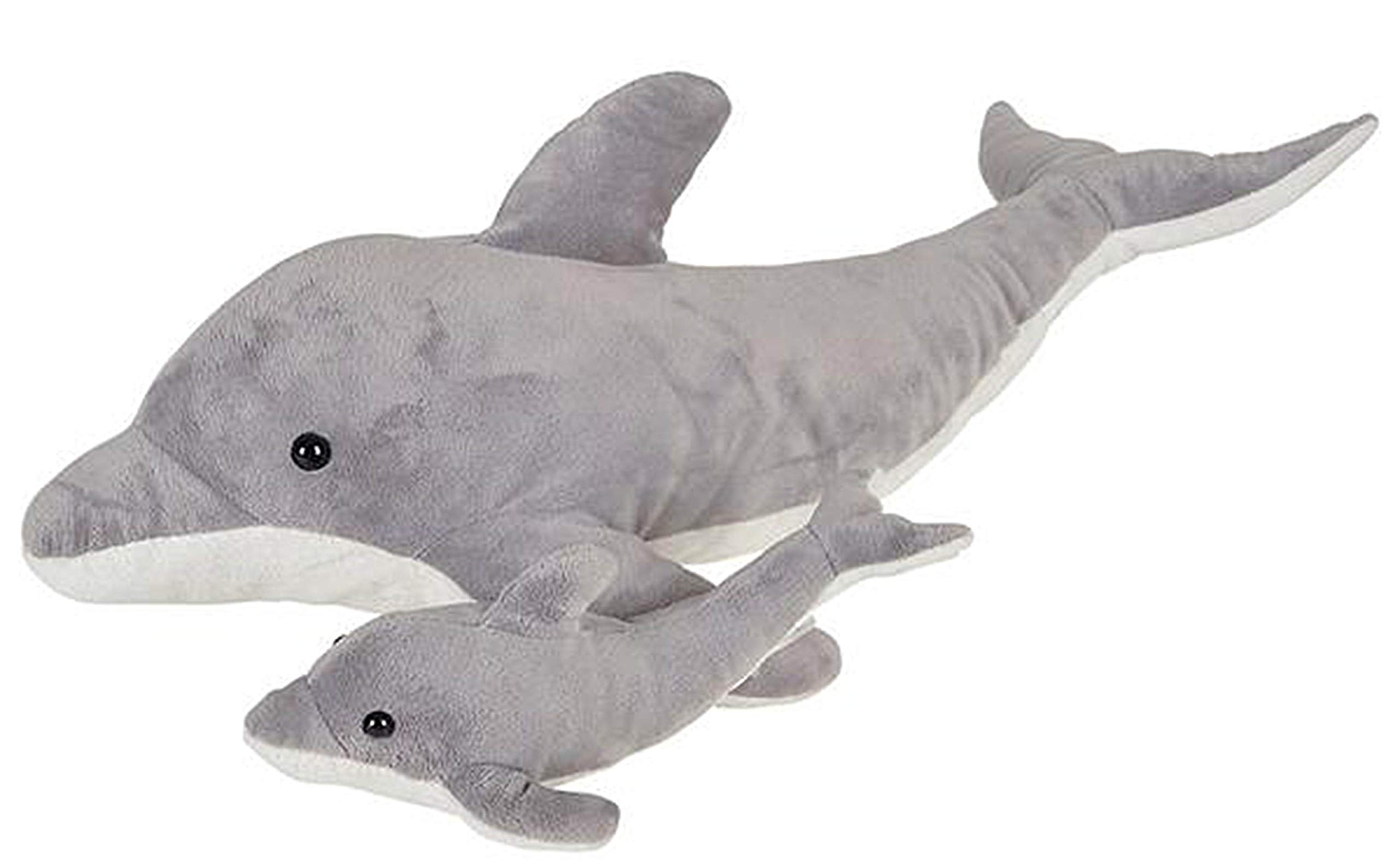 Wildlife Tree 22 and 9 Inch Stuffed Dolphin Mom and Baby Plush Floppy Zoo Animal Family Collection by Wildlife Tree