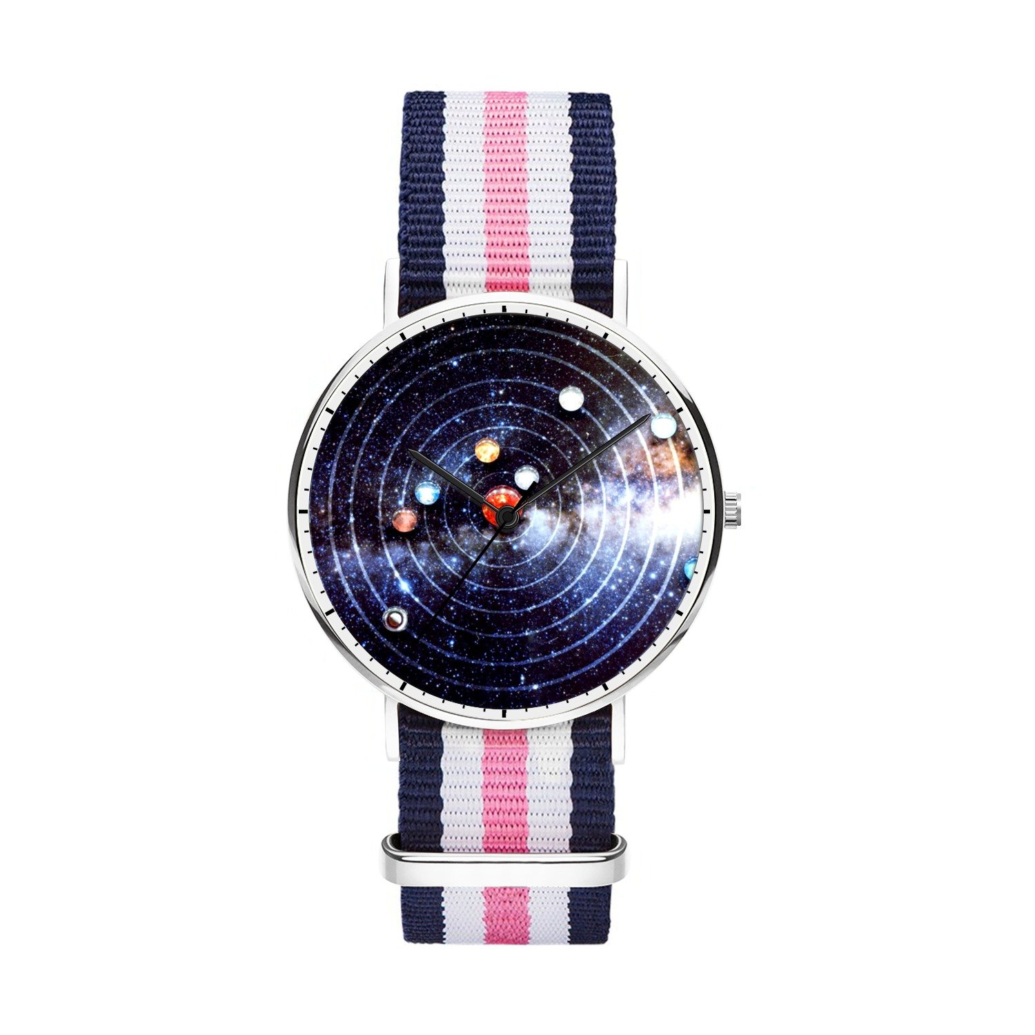 Mens watches, Boys Watches, Japanese Quartz Sliver Watches With Nylon Strap Analog Wrist Watch, Minimalism and Personalized Practical Design, Perfect Gift for Your Boyfriend.- Solar System